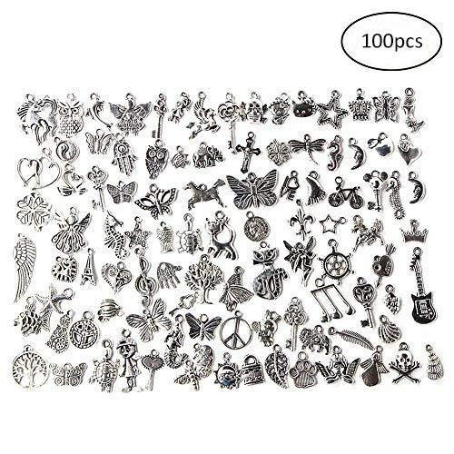 100pcs Wholesale Retro Silver Charm Tibetan Pendants Mixed In Bulk For DIY Necklace Bracelet Jewelry Making Yosoo TRTAZ11A