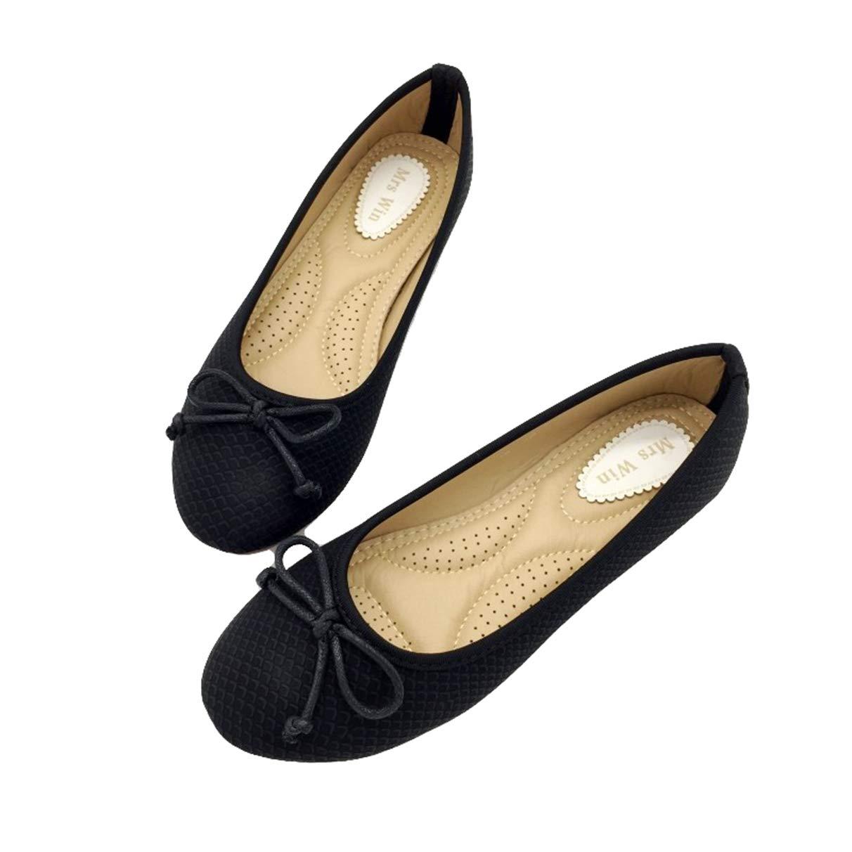Owen Moll Women Flats, Black Beige Ballet Loafers Slip-On Round Toe Single Work Shoes