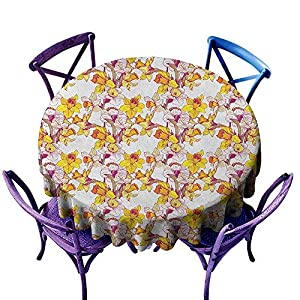 ONECUTE Water Resistant Table Cloth,Daffodil Complex Colorful Detailed Mixed Narcissus Flower Six Petals Love Balance Painting,Stain Resistant, Washable,55 INCH Multicolor 36