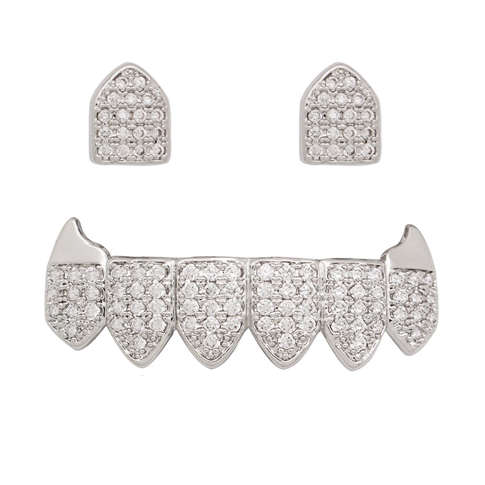 Silver Vampire Fangs Grillz 2 pc Single Top and 6 Bottom Teeth Set (Silver)