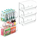 """mDesign Small Household Stackable Plastic Food Storage Organizer Bin Basket with Wide Open Front for Kitchen Cabinets, Pantry, Offices, Closets, Bedrooms, Bathrooms - 9"""" Wide, 6 Pack - Clear"""