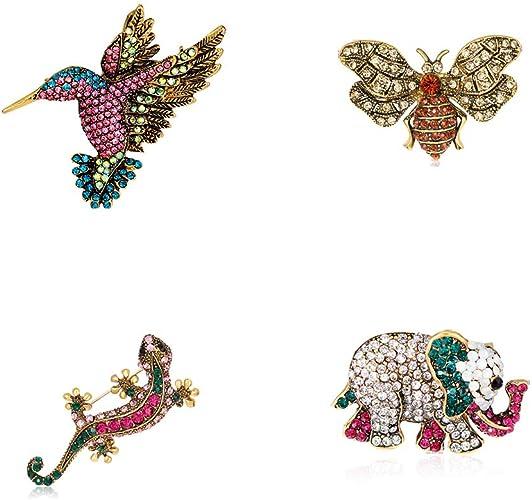 Vintage Alloy Rhinestone Animals Flower Brooch Broach Badge Pin Jewellery