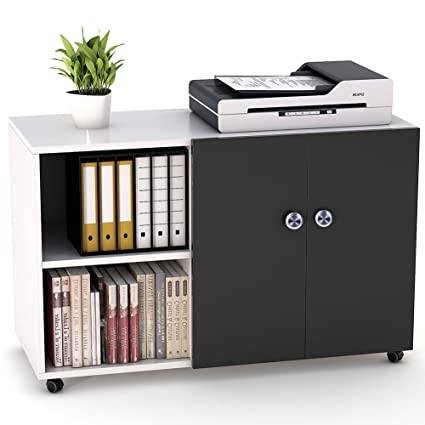File Cabinet, LITTLE TREE 39u201d Large Storage Printer Stand, Mobile Lateral  Filing Office