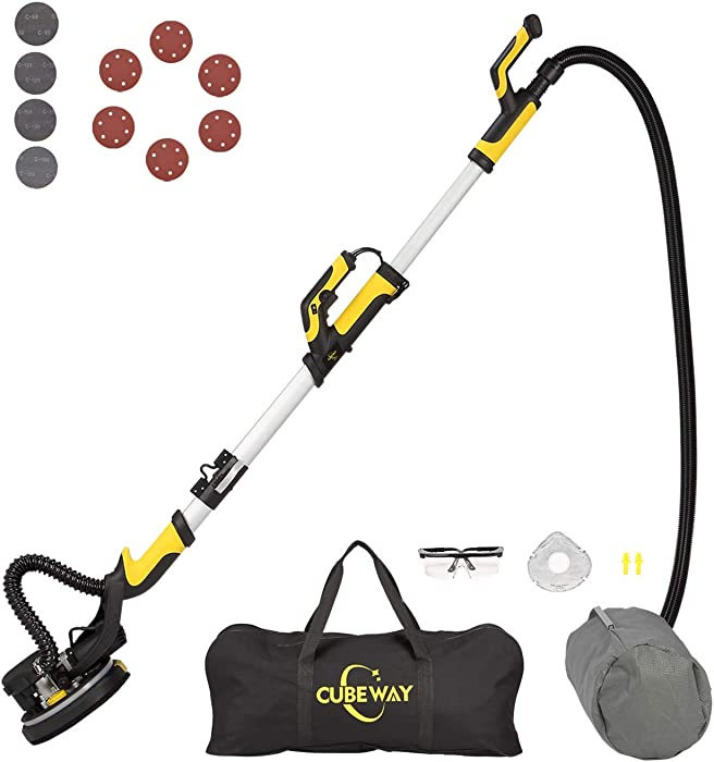 Drywall Vacuum Sander, Innovative Fixture for Ceiling Sanding, Electric Drywall Sander with LED Light, Variable Speed and ETL Listed, CUBEWAY