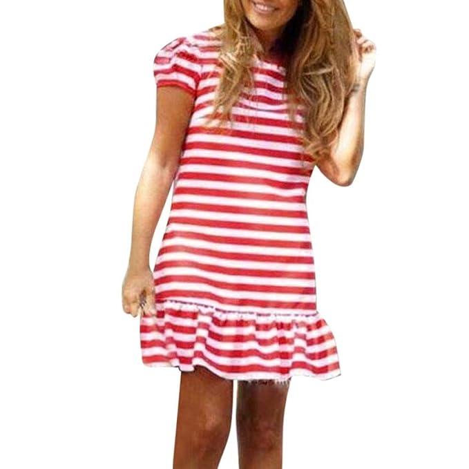 87258a7f4ef73 Women's Crew Neck Summer Stripe Printed Short Sleeve Ruffled Mini Dress  Beach Holiday