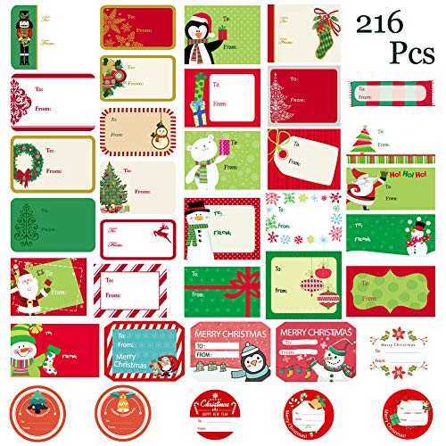 (WESJOY Christmas Self Adhesive Name Labels Gift Wrap Tags Stickers Santa Snowmen Xmas Tree Deer Designs Holiday Decorative Presents Labels 216 Pcs)