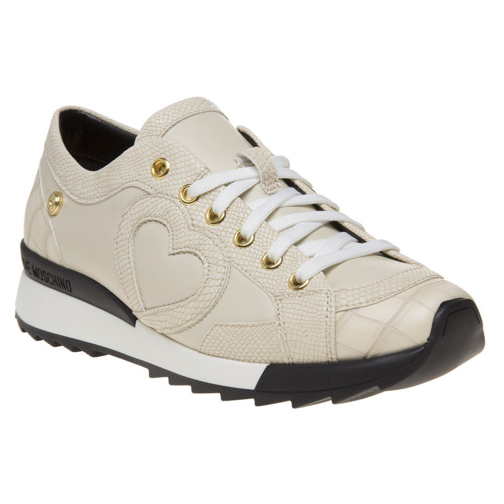 Love Moschino Croc Print Womens Sneakers Natural