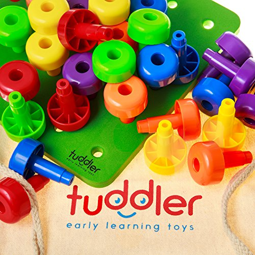 Tuddler Brightly Colored Stackable Pegs and Peg Board Set / Montessori Educational Toy for Toddlers and Kids + Pattern Card + Drawstring Backpack for Portability and Neat Storage + Ebook