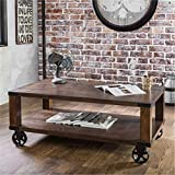 Cheap Furniture of America Royce Living Room Modern Industrial Wood Coffee Table / End Table