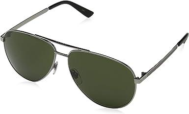 Gucci GG0137S 003 Gafas de sol, Ruthenium/Grey Green, 61 para Mujer