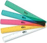 ETA hand2mind Shatter-Resistant Plastic Transparent Student Math Rulers, Set of 10