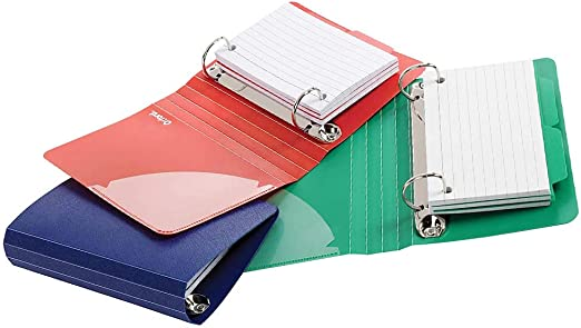 Amazon Com Oxford Index Card Binder With Dividers 3 X 5 Inches Color Will Vary 1 Binder 50 Cards Assorted Blue Green Red Home Kitchen