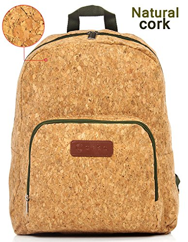 Eco Friendly Backpack Packable Lightweight Unusual Exclusive Cool Backpack - Casual Travel Foldable Hiking Daypack for Women Men College - Natural Cork