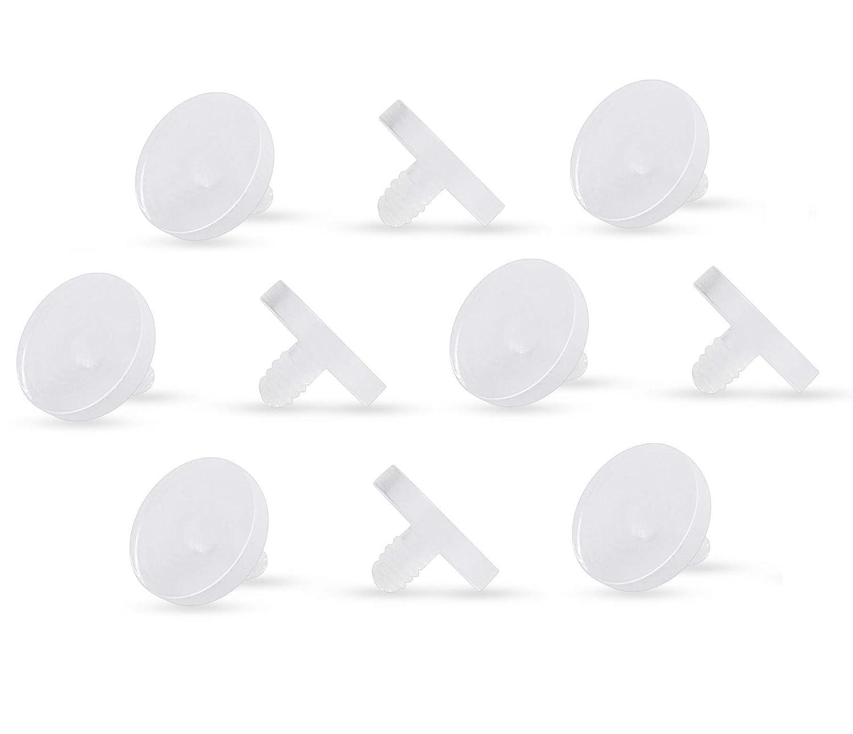 Pierced Owl Set of 10 Clear Acrylic 4mm Dermal Anchor Retainer Tops Metal Free Allergy Free DERANCHR-04C
