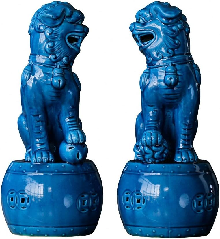 Wenmily Large Size Wealth Porsperity Pair of Fu Foo Dogs Guardian Lion Statues,Best Housewarming Congratulatory Gift to Ward Off Evil Energy,Feng Shui Decor