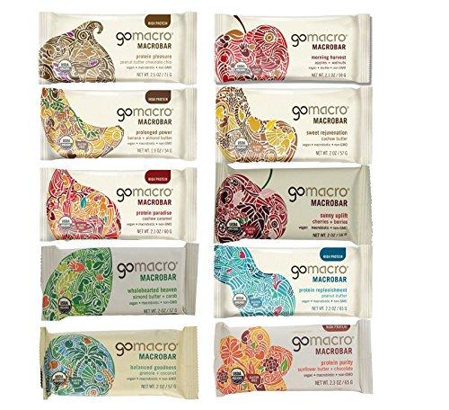 GoMacro Variety Pack, 10 flavors, 1 bar each (pack of 10)