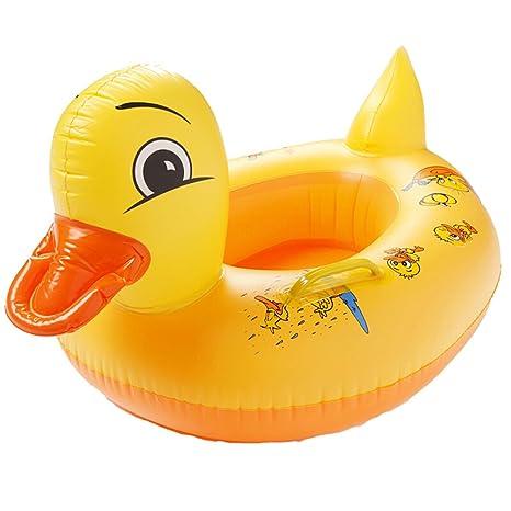 Clerfy Acc Anillo de Natación para Bebé, Barco Flotador de Bebé Pato Amarillo Inflable de
