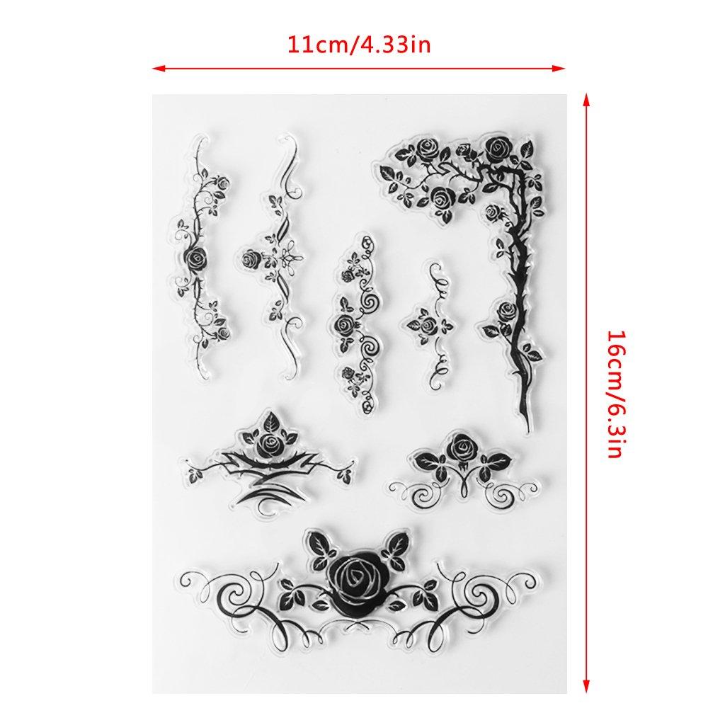 Lamdoo rose decorative in silicone trasparente sigillo timbro fai da te per diario scrapbook album di S59