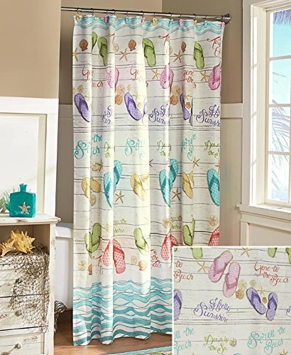 The Lakeside Collection Flip-Flop Shower Curtain