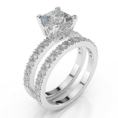 3f8642cb45 D/VVS1 Man Made Diamond Engagement Ring Set 2 Carat Princess Cut 14ct White  Gold: Amazon.co.uk: Jewellery