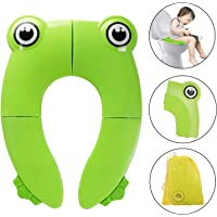 [2019 Upgrade Version] BYETOO Potty Traning Seat for Kids,Folding Large Non Slip Silicone Pads,Travel Portable Reusable Toilet Seat Covers Liners with Carry Bag for Babies,Toddlers and Kids - Green