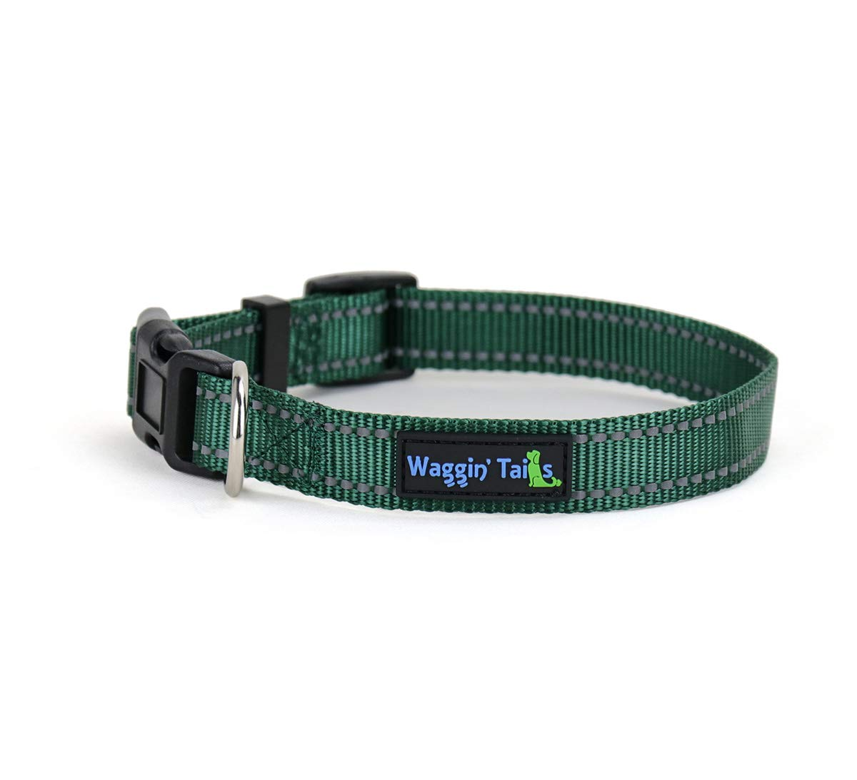 Hunter Green Small Hunter Green Small Waggin Tails Classic Reflective Dog Collar (Small, Hunter Green)