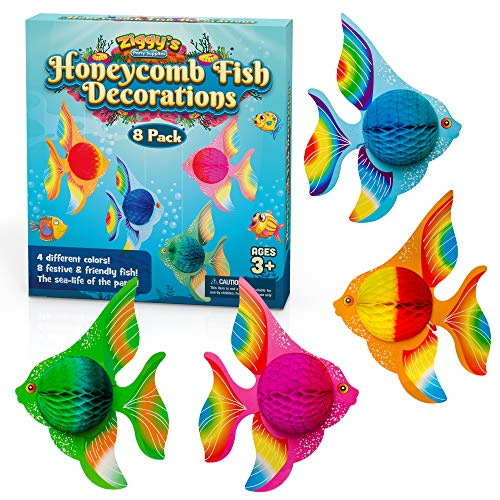 Honeycomb Fish Decorations By Ziggy's Party Supplies – 8pcs Tropical Fish Party Decorations For Under The Sea, Mermaid, Luau, Beach, Summer, Nautical Theme Parties– 4 Color Fish Kids Party Decorations