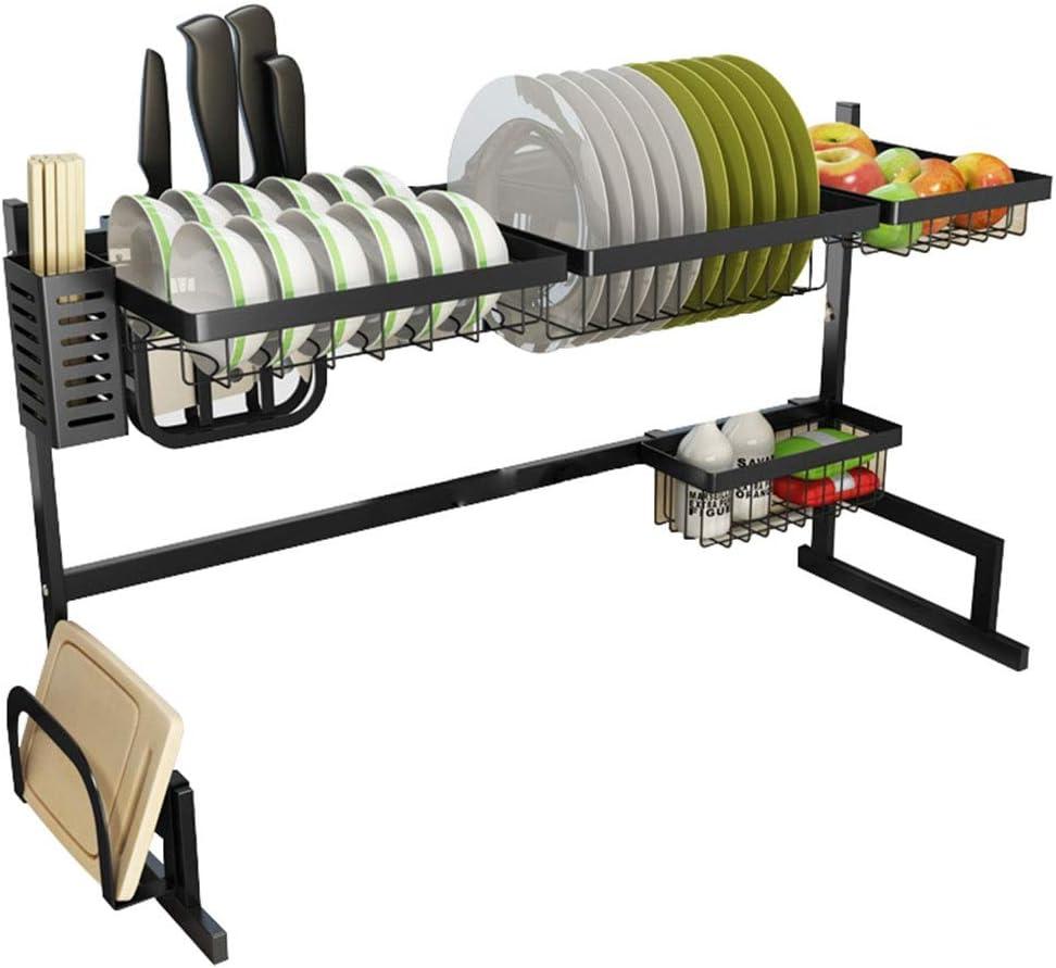 キッチン ラック ブラックシンクラック|ドレンラックキッチンカトラリーストレージラック|ディッシュラックステンレスライスボウルラック|プレートラック GXBCS (Size : L85.5× H52 × W32cm)