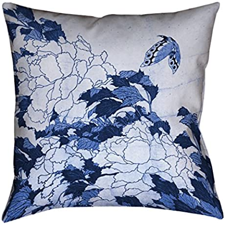 ArtVerse Katsushika Hokusai Peonies And Butterfly In Blue X 40 Floor Pillows Double Sided Print With Concealed Zipper Insert