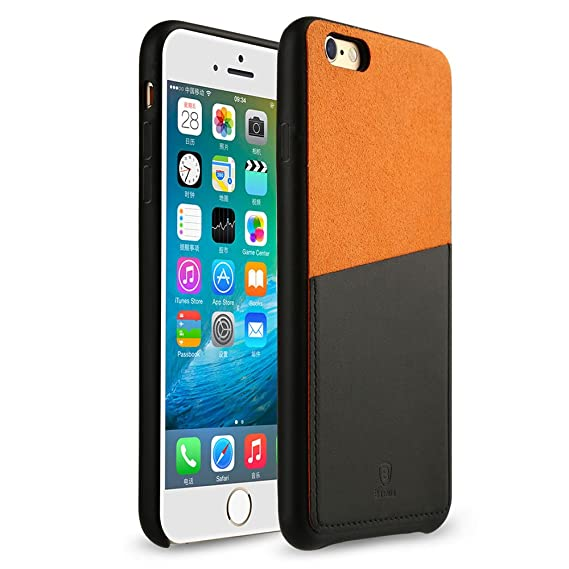 quality design 04dae e8b82 Baseus iPhone 6 / 6S 4.7 Inch Protective Case Encounter Series Leather Case  Dual Color with Card Holder Protective Cover Black+Orange EIAPIPH6S-01