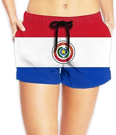 Pantalones de playa para mujer, diseño de bandera de Paraguay, color blanco: Amazon.es: Ropa y accesorios