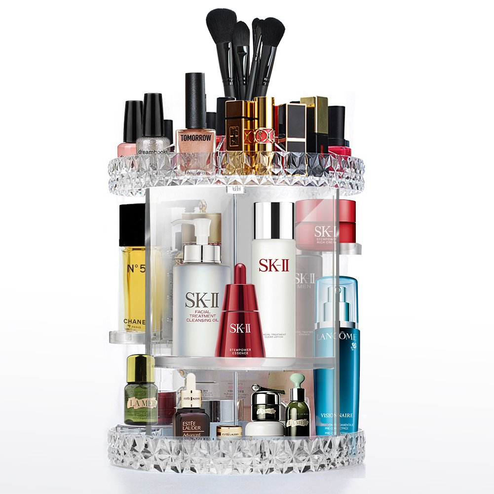 Cozihoma Acrylic Makeup Organizer Multi-Function Acrylic Carousel Makeup Holder Cosmetic Storage Fits for Lots of Cosmetics and Accessories (Rotate)