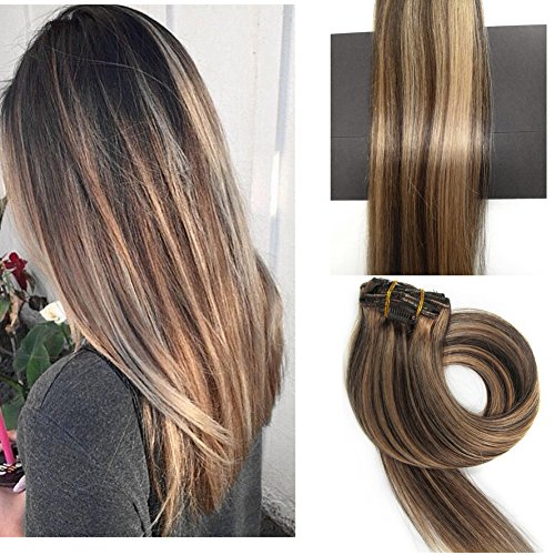 TheFashionWay Brazilian Human Hair Extensions Clip in Silky Straight Weft Remy Hair (20 inches, #4-27) (Human Hair Clip In Extensions 20)