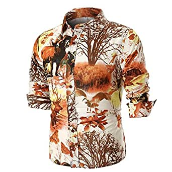Yvelands Mens Handsome Fashion Solapel Casual Slim Button-Down PersonalityShirt Chaqueta Coat Outwear Top Blusa