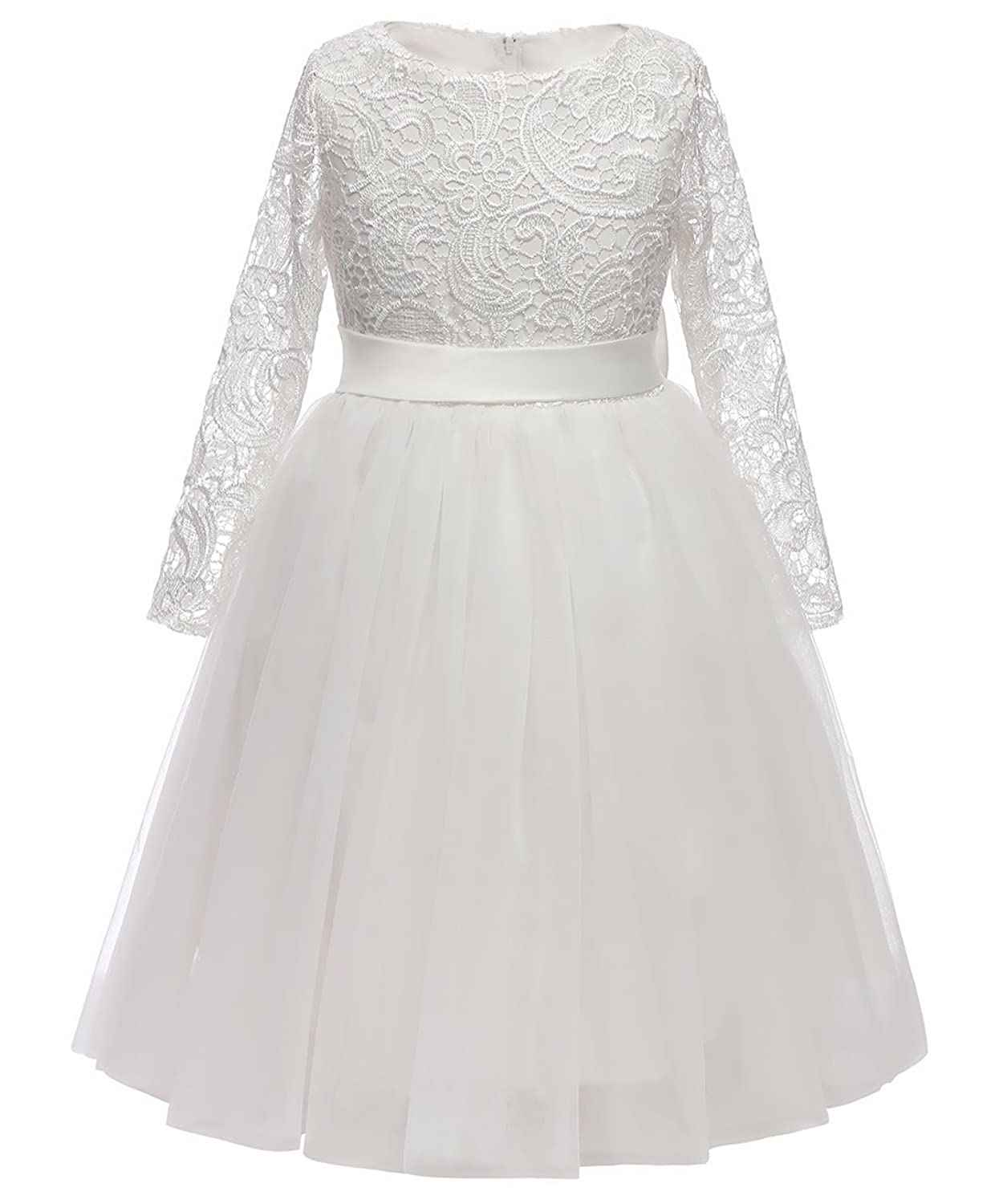 c4797889e Long sleeves flower girl dress. Tea length / removable bow / lace top with  5 layers tulle skirt. Made of soft lace,100% cotton lining,soft and  comfortable