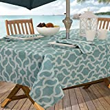 #9: Casual Living by Newbridge Sydney Indoor Outdoor Polyester Table Linens, 60-Inch by 84-Inch Oblong (Rectangle) with Umbrella Hole and Zipper Tablecloth, Turquoise