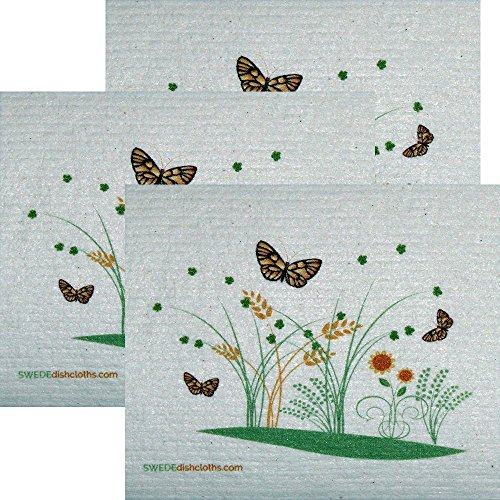 3 Spring Butterflies Set of 3 Each Swedish Dishcloths | ECO Friendly Absorbent Cleaning Cloth | Reusable Cleaning Wipes ()