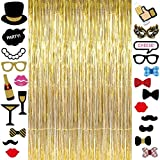 Long Metallic Gold Foil Fringe Tinsel Curtain Backdrop 3.2ft x 9.8ft and 23pcs Black and Gold PhotoBooth Props Wedding Engagement Decorations High School College Graduation Party Favors Supplies