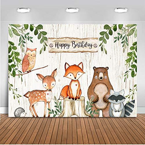 Mehofoto Woodland Birthday Backdrop Woodland Animals Photography Background 7x5ft Vinyl Woodland Animals Happy Birthday Party Banner Backdrops ()
