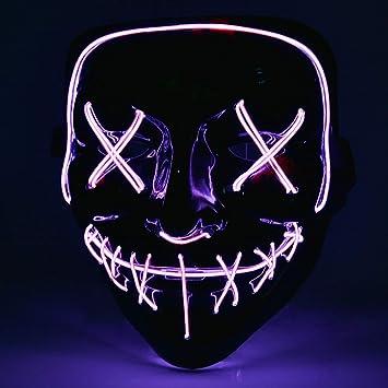 AUSHEN Halloween Máscara LED Ligero Gracioso Máscaras Estupendo Festival Cosplay Máscara Purga LED Máscara de Payaso