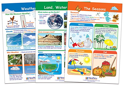 NewPath Learning 94-1502 Land Water and Air Bulletin Board Chart Set (Pack of (Graphic Organizer Chart Set)