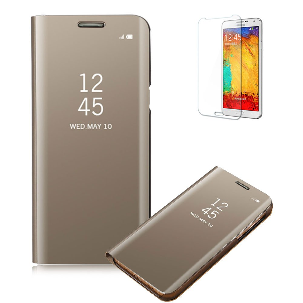 Funyye Gold Mirror Leather Case for Samsung Galaxy A8 2018,Multi-functional Plating Transparent Cover for Samsung Galaxy A8 2018,Fashion Ultra Slim Clear View Shockproof KickStand Protective Flip Case for Samsung Galaxy A8 2018 + 1 x Free Screen Protector
