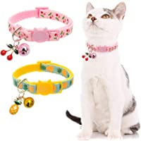 BINGPET Breakaway Cat Collar with Bell, 2 Pack Safety Adjustable Cat Collars Set, Pineapple & Cherry