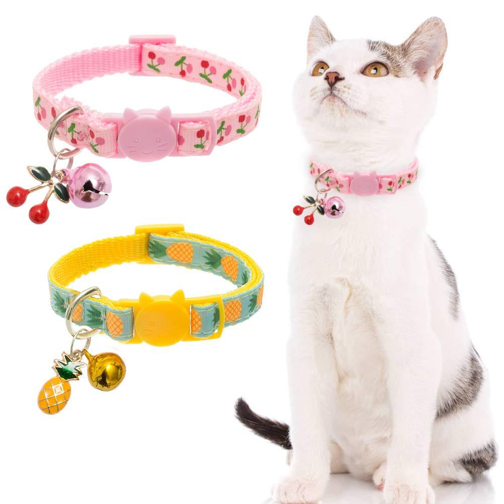 BINGPET Breakaway Cat Collar with Bell, 2 Pack Safety Adjustable Cat Collars Set, Pineapple & Cherry by BINGPET