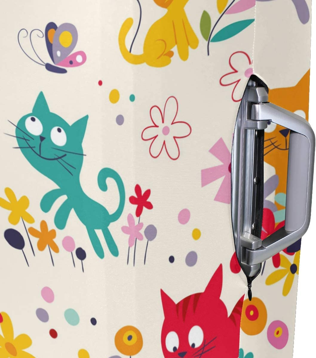FOLPPLY Colorful Cats Pattern Luggage Cover Baggage Suitcase Travel Protector Fit for 18-32 Inch