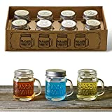 Hayley Cherie - Mason Jar Shot Glasses with Lids (Set of 8) - Mini Mason Shooter Glass with Handles - 2 Ounces