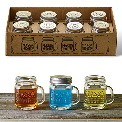 Shooter Glass Set (Hayley Cherie - Mason Jar Shot Glasses with Lids (Set of 8) - Mini Mason Shooter Glass with Handles - 2 Ounces)