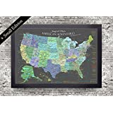 National Parks Map - Explore America Map - Small Framed Map - Slate Edition - USA Travel Push Pin Map