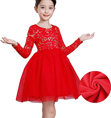 Robe Fille Princesse Elegant Costume Ceremonie Mariage Manches Longues Dentelle Col Rond Enfant Hiver Robe Rouge 95 100 Amazon Fr Bebes Puericulture