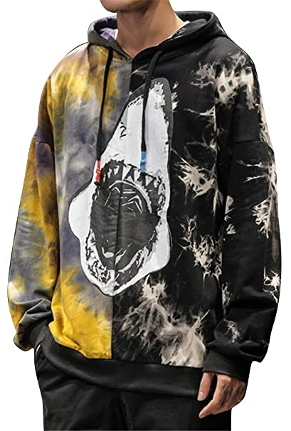 227a8a996ef7b KLJR Men Fashion Plus Size Floral Print Drawstring Shark Cotton Pullover  Hooded Sweatshirt at Amazon Men s Clothing store